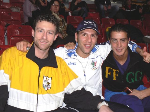 Simone con i campionissimi Loria e Maniscalco, amici ed ex compagni di Nazionale