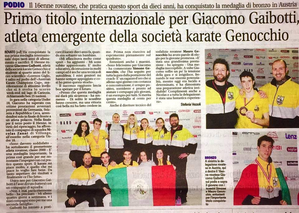 Articolo sul giornale (InChiari Week) per il bronzo di Giacomo agli Austrian Champions Cup 2017