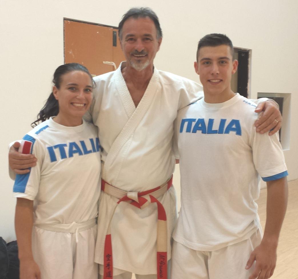 Il Maestro Franco al Corso d'Aggiornamento Tecnici 2014 con due esecutori d'eccezione: i Campioni d'Europa in carica Sara Cardin (kumite) e Mattia Busato (kata)